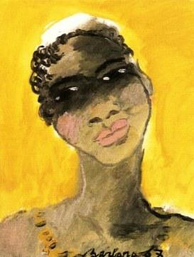 Negra in giallo, 1967, olio su tela, cm 55x48