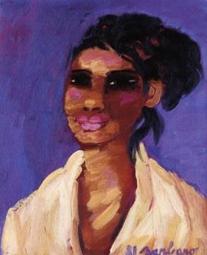 Araba fondo viola, 1981, olio su tela, cm 61x50