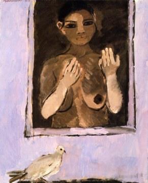 Donna alla finestra, 1974, olio su tela, cm 100x81