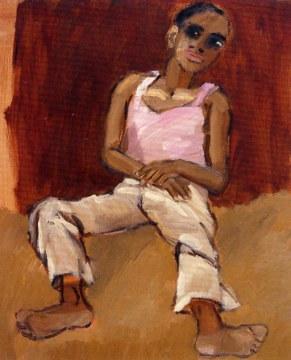 alì per terra, 1991, olio su tela, cm 100x81