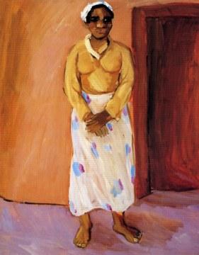 donna e muro rosa, 1994, olio su tela, cm 146x114