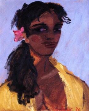 Fiore viola, 1991, olio su tela, cm. 61x50