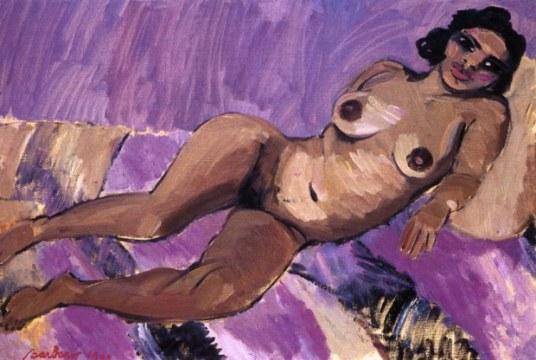 Nudo in lilla, 1992, olio su tela, cm 97x146