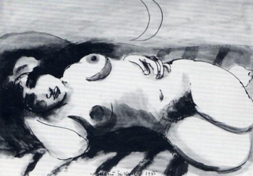 abbandono, 1985, china su carta, cm 75,5x106