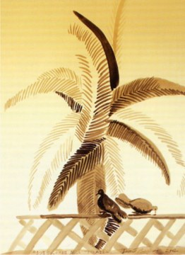 due colombe sulla terrazza, 2002, china su carta, cm 168x129