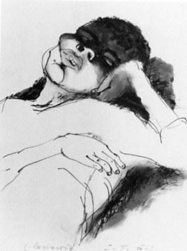 enfant dormant, 1967, china su carta, cm 75x56,5