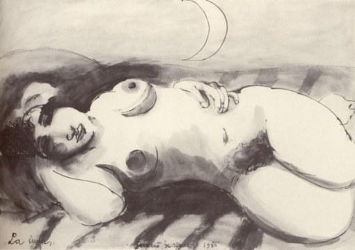 La luna, 1985, china su carta, cm 75x100