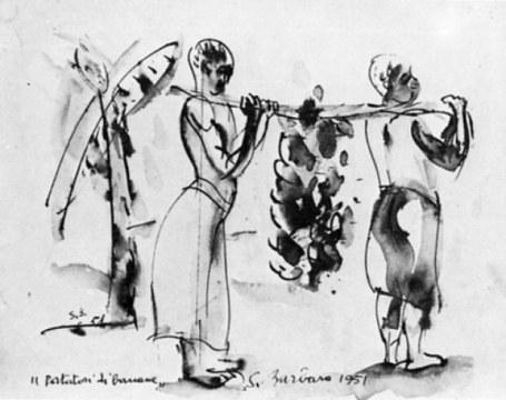 portatori di banane, 1951, china su carta, cm 27x35