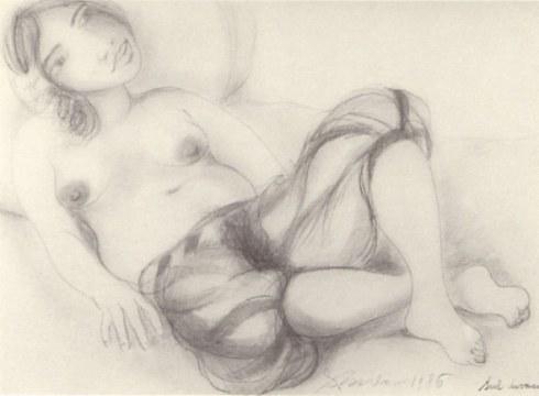 Sul divano, 1986, matita su carta, cm 75x100