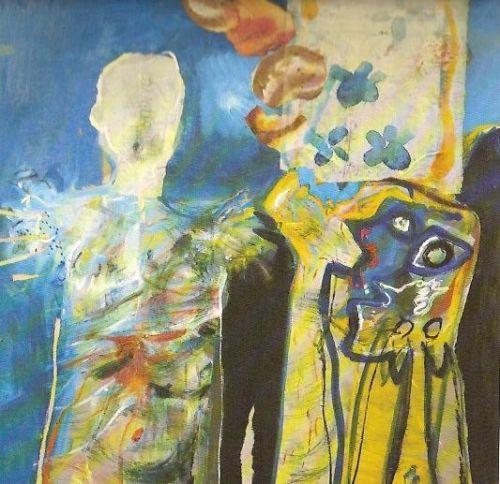 Figura e totem, 1963<br /> olio su tela, cm 90x90