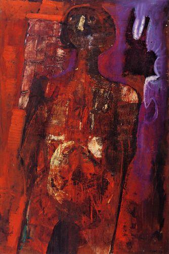 Figura rossa, 1959<br /> olio su tela, cm 120x80