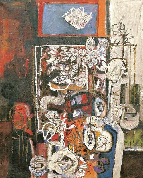Pittura di natura morta, 1961<br /> olio su tela, cm 120x100