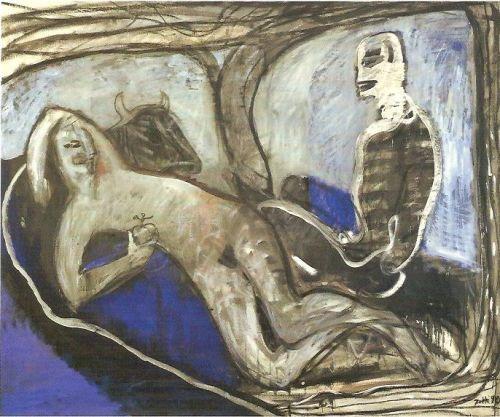Adamo ed Eva, 1990<br /> acrilico su tela, cm 140x170