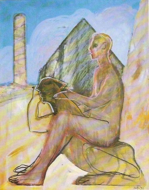 Figura e sfinge, 1992<br /> acrilico su tela, cm 126x98
