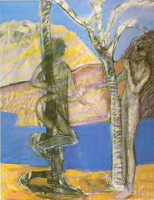 Adamo ed Eva, 1993<br /> acrilico su tela, cm 130x150