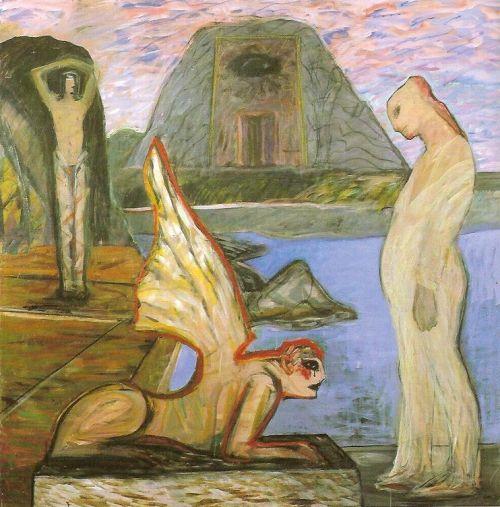 Sfinge e donna incinta, 1999<br /> acrilico su tela, cm 180x180