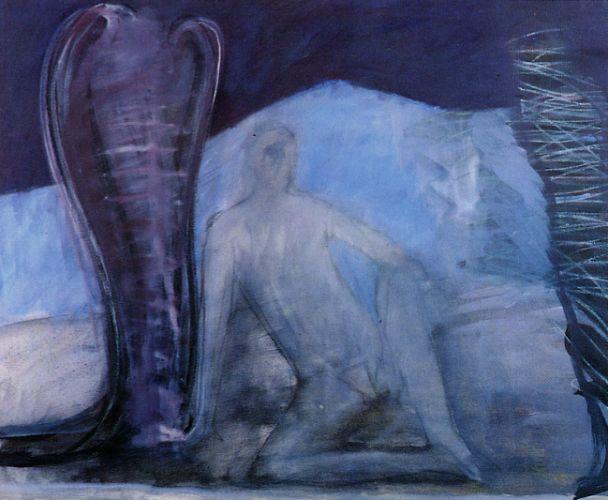 Annuncio, 1990<br /> olio su tela, cm 100x120