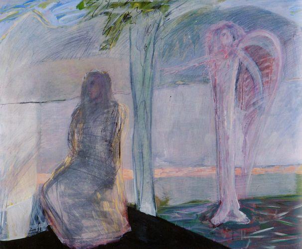 Annuncio 7, 1993<br /> tempera su tela, cm 140x170