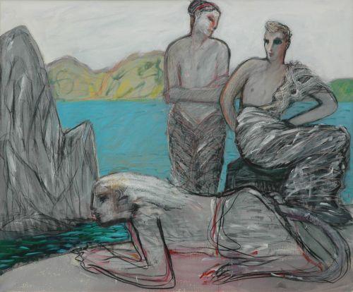Sfinge, bella e ermafrodito, 1996<br /> olio su tela, cm 150x180