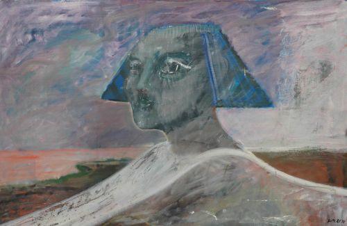 Sfinge imponente, 1990<br /> olio su tela, cm 95x45