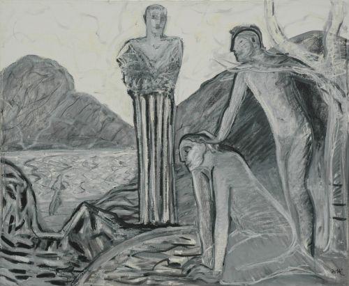 Sotto osservazione, 1996<br /> olio su tela, cm 140x170
