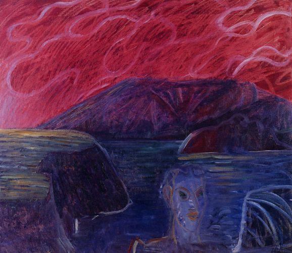 Testa e paesaggio, 1991<br /> olio su tela, cm 130x150