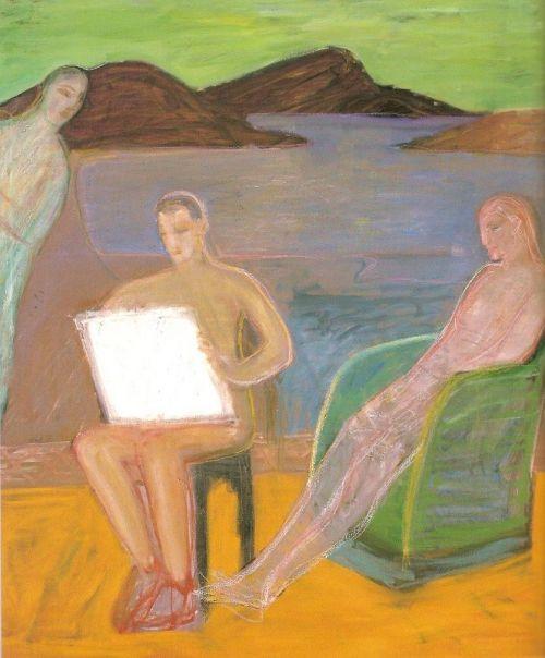 Disegnatore, 2000<br /> olio su tela, cm 190x160