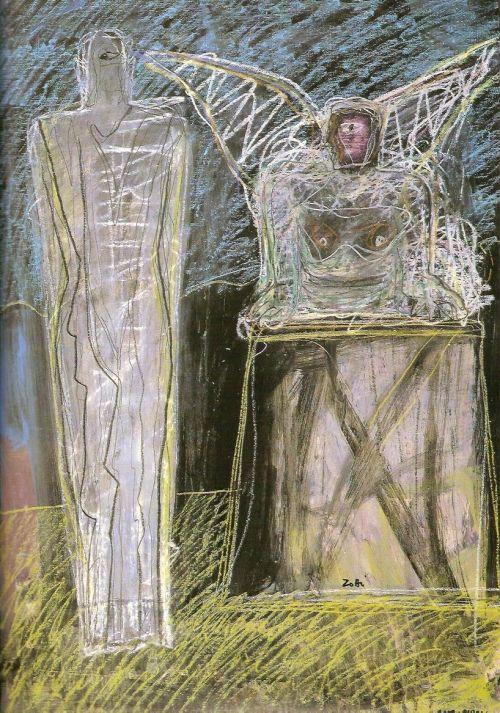 Donna e sfinge, 2002<br /> tecnica mista su carta intelata, cm 100x70
