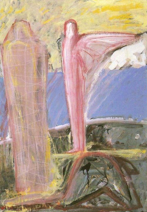Annuncio, 2003<br /> tecnica mista su carta intelata, cm 100x70