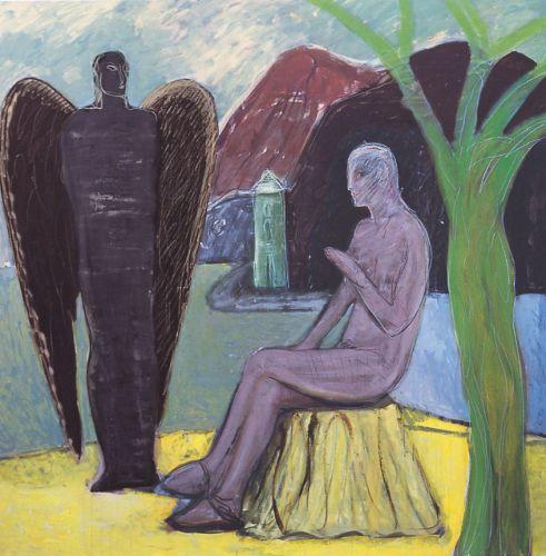 Angelo nero, 2003<br /> smalto su tela, cm 180x180