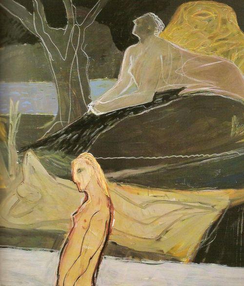 Figura e quadro, 2003<br /> olio su tela, cm 200x200