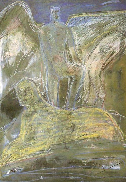 Figura e sfinge, 2003<br /> tecnica mista su carta intelata, cm 100x70
