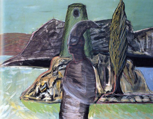 Guerriero, 2003<br /> smalto su tela, cm 120x160