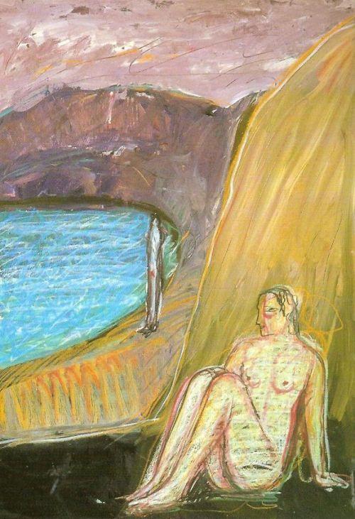 Spiagge, 2003<br /> tecnica mista su carta intelata, cm 100x70