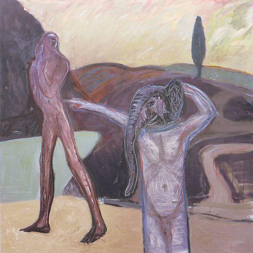 Uomo elefante, 2003<br /> smalto su tela, cm 180x180