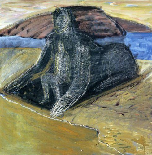 Uomo e sfinge, 2003<br /> olio su tela, cm 80x80